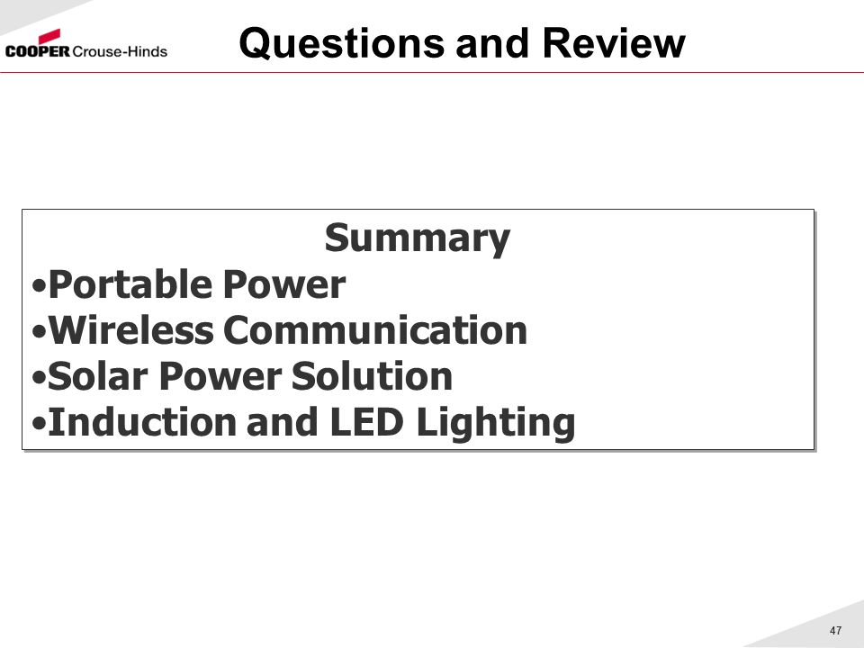 Questions and Review Summary Portable Power Wireless Communication