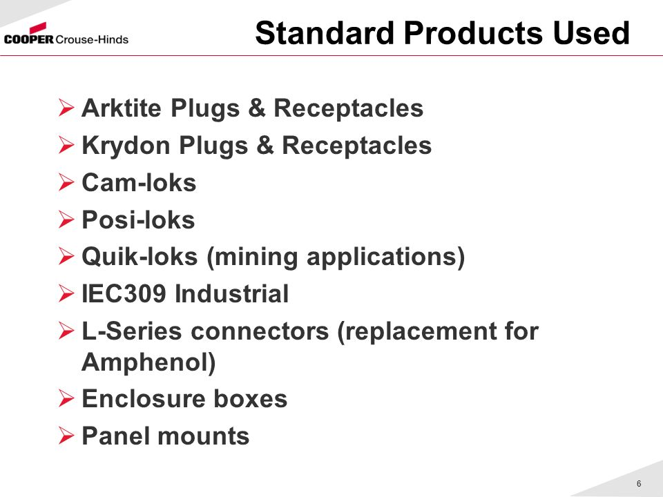 Standard Products Used