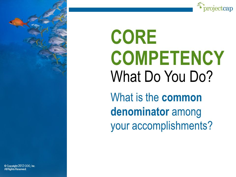 CORE COMPETENCY What Do You Do