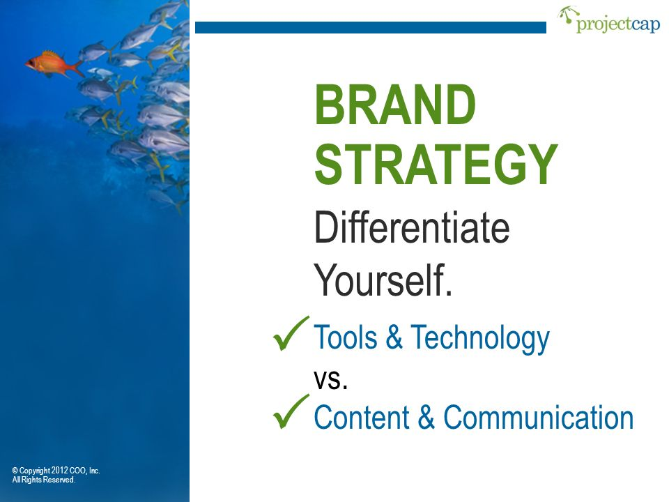 BRAND STRATEGY P P Differentiate Yourself. Tools & Technology vs.