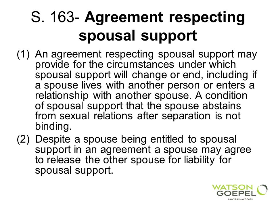 S. 163- Agreement respecting spousal support
