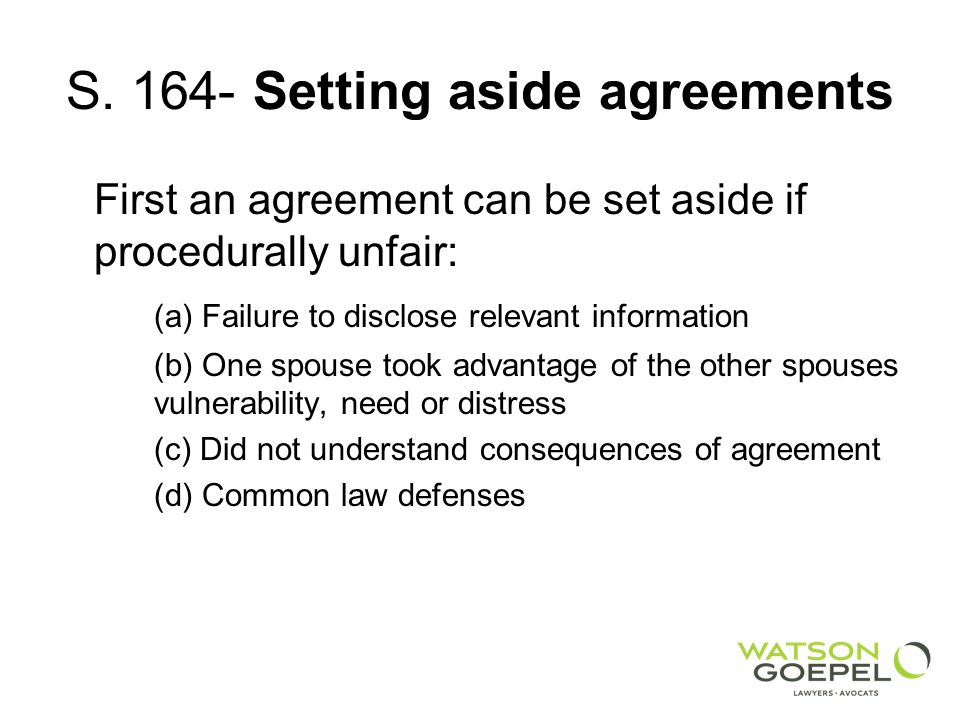 S. 164- Setting aside agreements