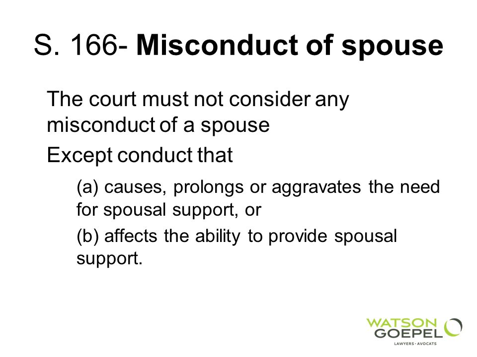 S. 166- Misconduct of spouse