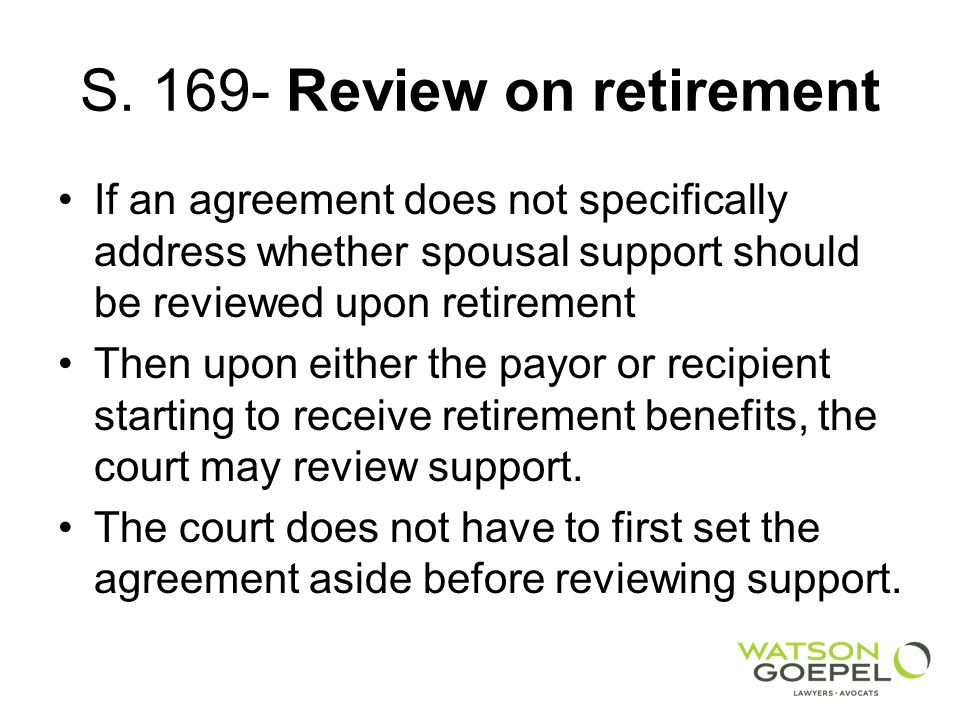 S. 169- Review on retirement