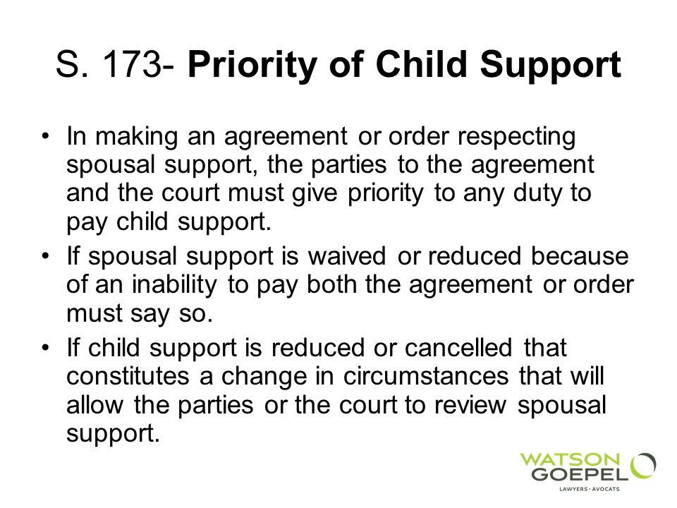 S. 173- Priority of Child Support