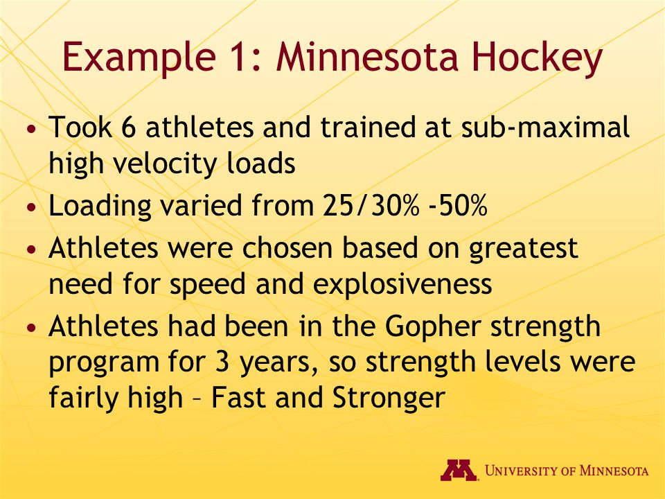 Example 1: Minnesota Hockey