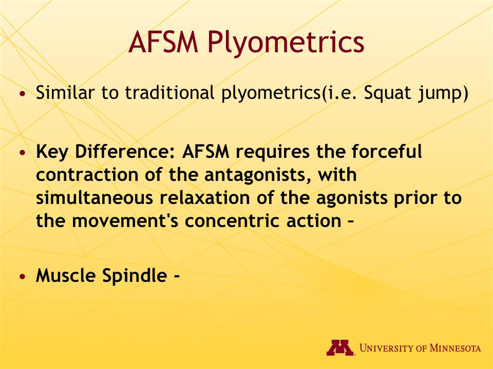 AFSM Plyometrics Similar to traditional plyometrics(i.e. Squat jump)