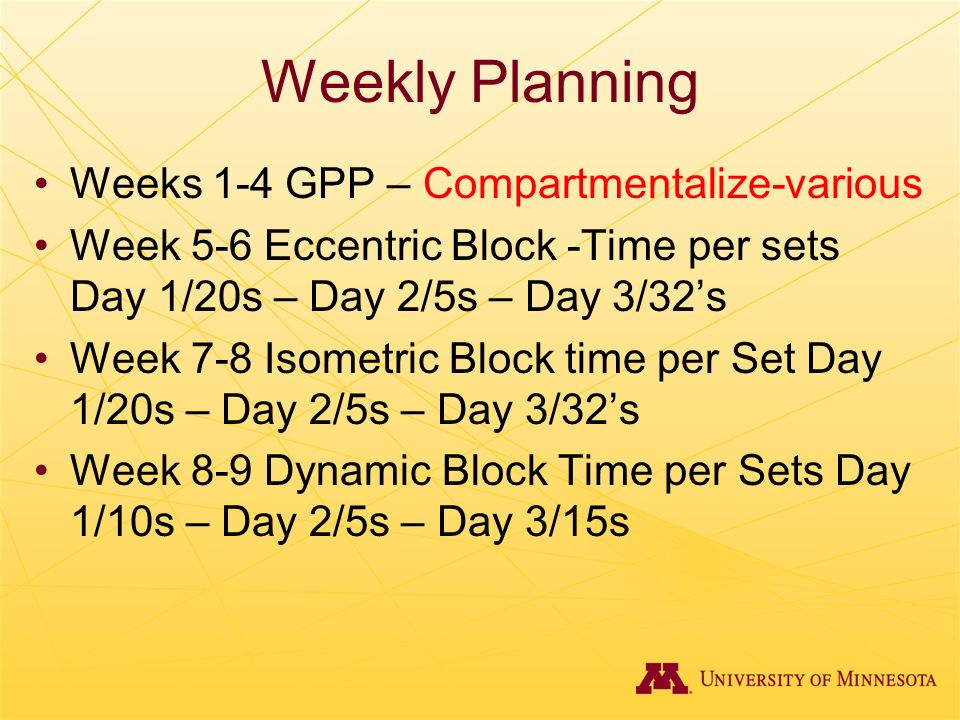 Weekly Planning Weeks 1-4 GPP – Compartmentalize-various