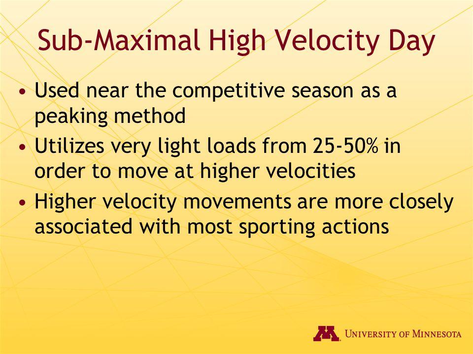 Sub-Maximal High Velocity Day