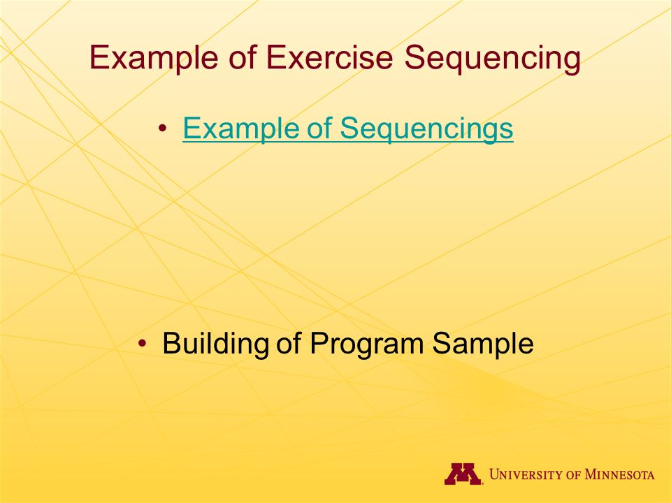 Example of Exercise Sequencing