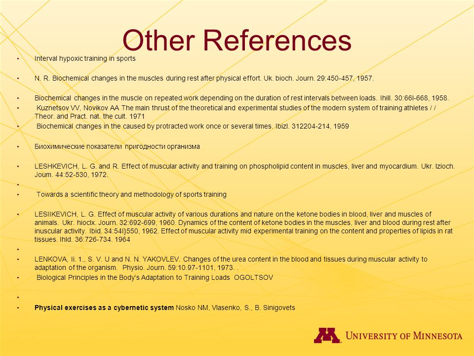 Other References Interval hypoxic training in sports