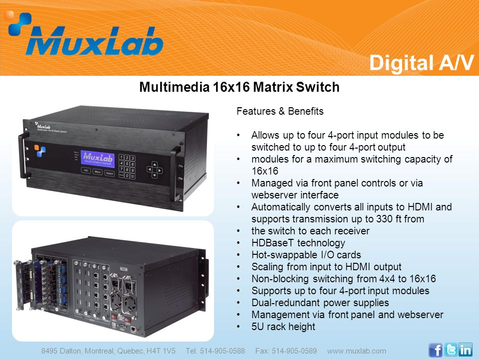 Multimedia 16x16 Matrix Switch