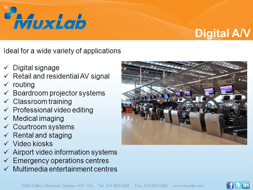 Digital A/V Ideal for a wide variety of applications Digital signage