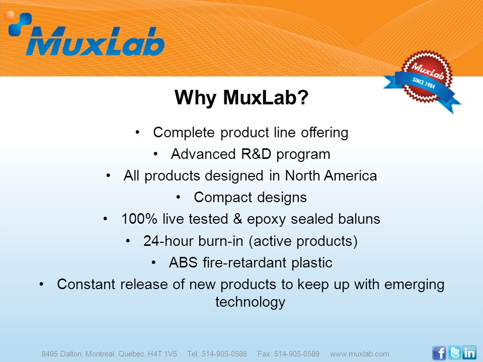 Why MuxLab Complete product line offering Advanced R&D program
