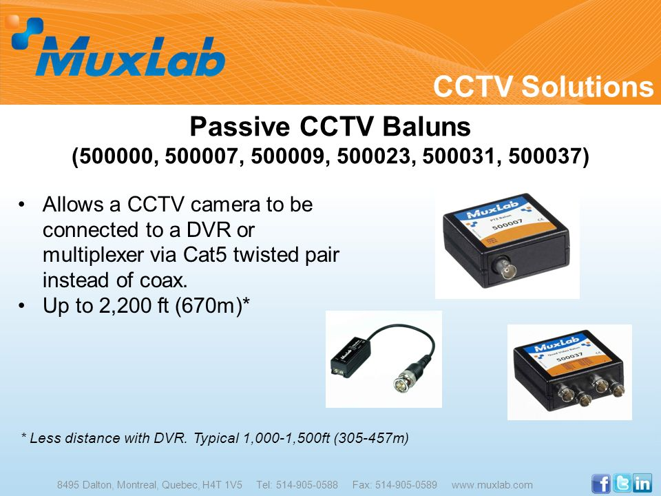 CCTV Solutions Passive CCTV Baluns