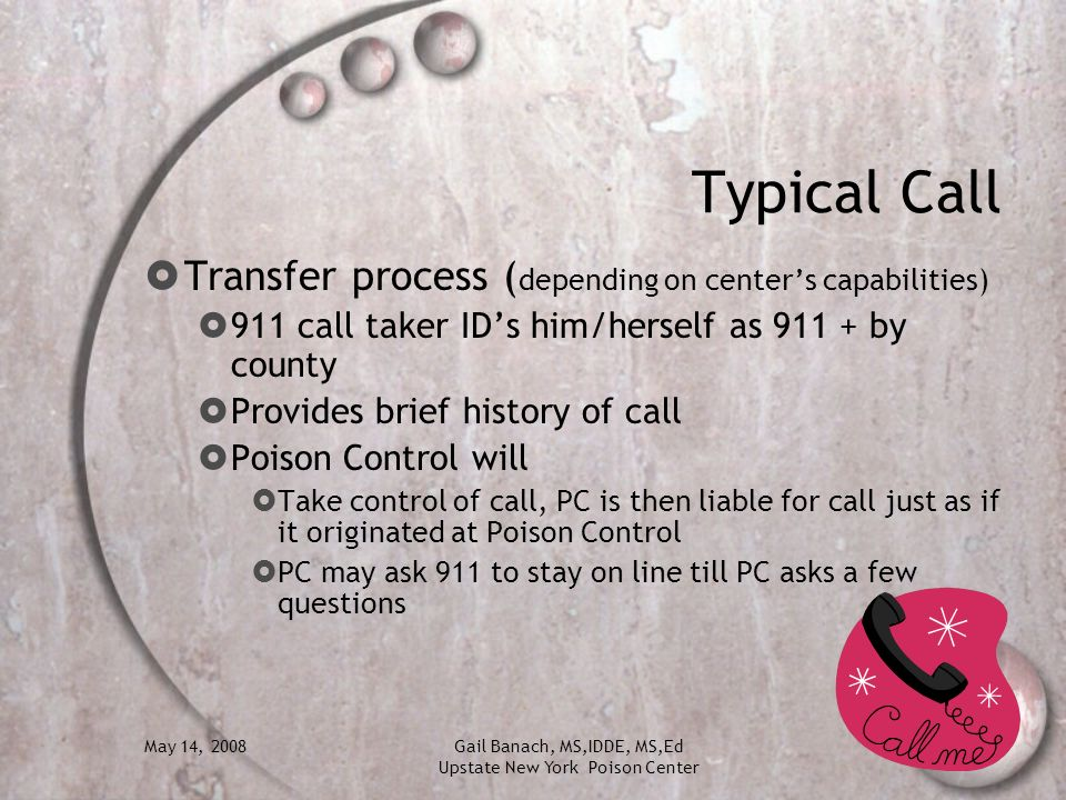 Typical Call Transfer process (depending on center's capabilities)