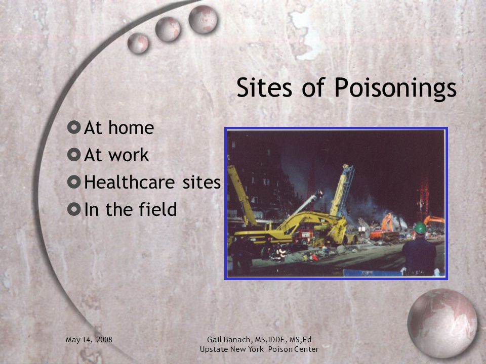 Sites of Poisonings At home At work Healthcare sites In the field