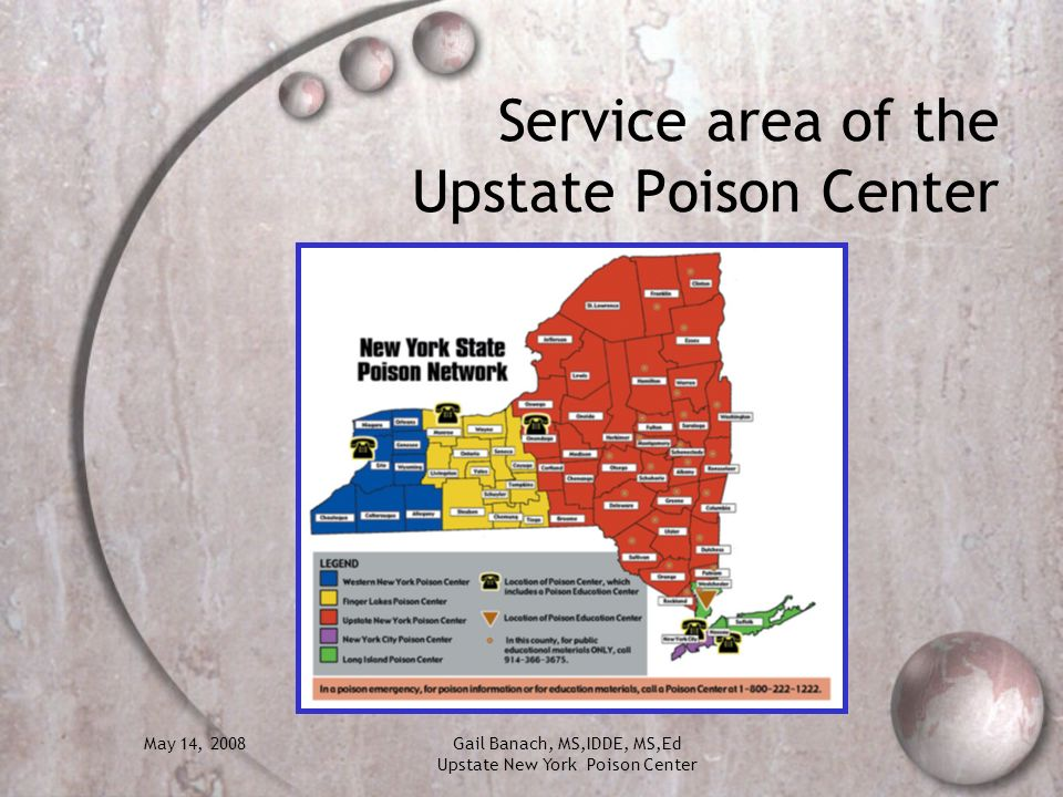 Service area of the Upstate Poison Center