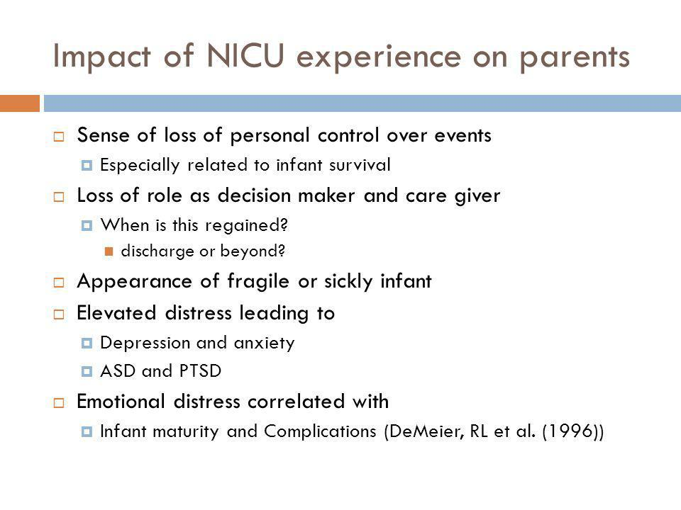 Impact of NICU experience on parents