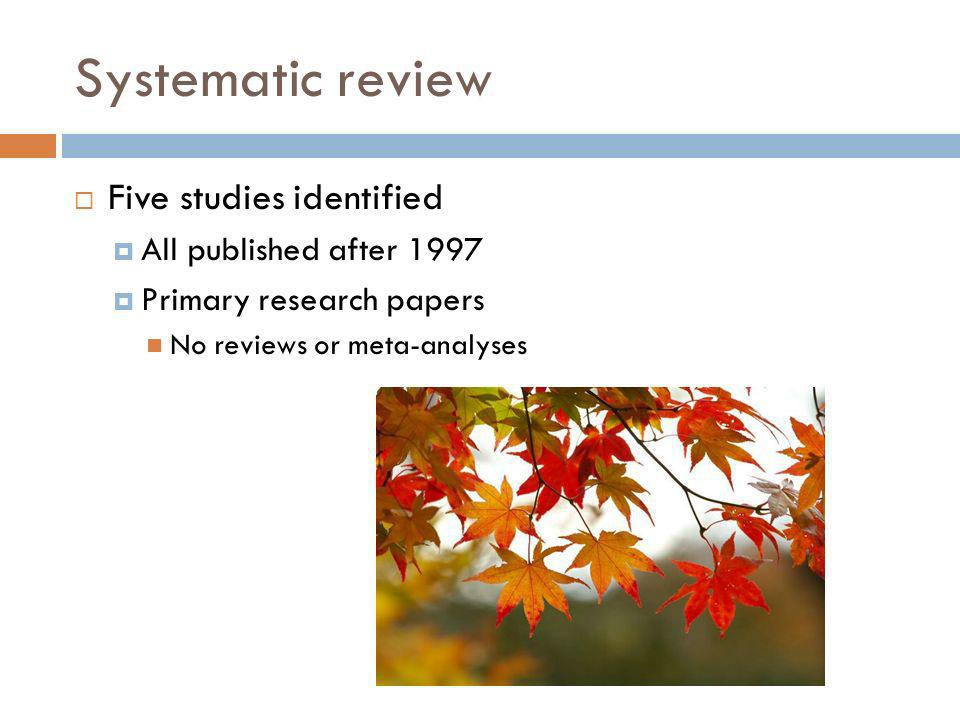 Systematic review Five studies identified All published after 1997