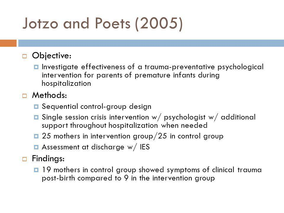 Jotzo and Poets (2005) Objective: Methods: Findings: