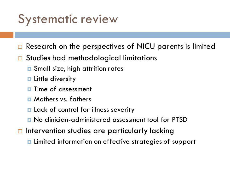 Systematic review Research on the perspectives of NICU parents is limited. Studies had methodological limitations.