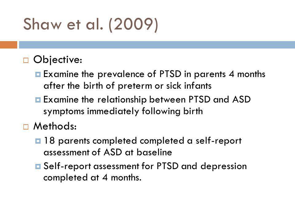 Shaw et al. (2009) Objective: Methods:
