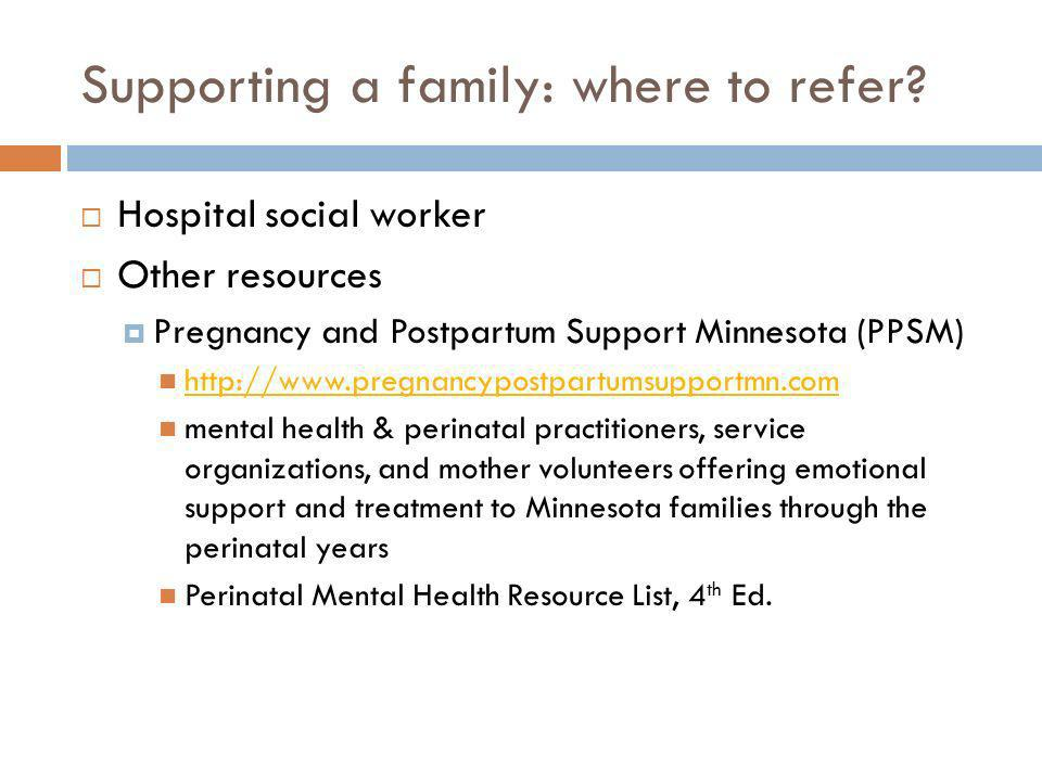 Supporting a family: where to refer