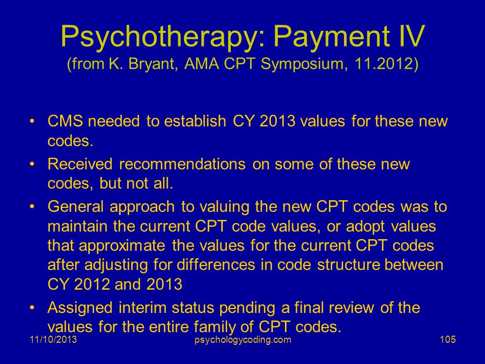 Psychotherapy: Payment IV (from K. Bryant, AMA CPT Symposium, 11.2012)