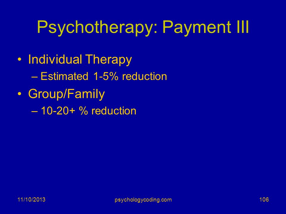 Psychotherapy: Payment III