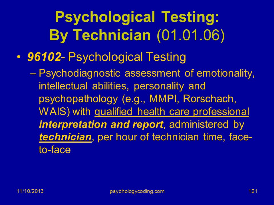 Psychological Testing: By Technician (01.01.06)