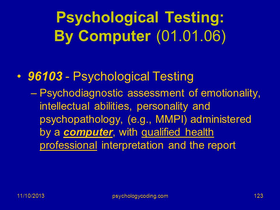 Psychological Testing: By Computer ( )