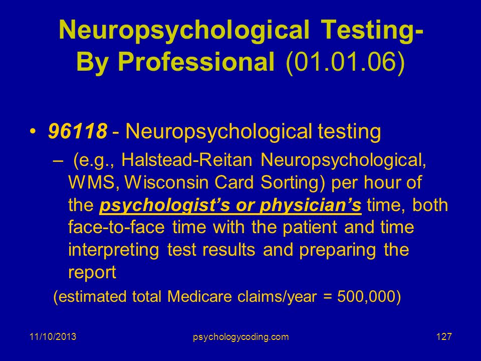 Neuropsychological Testing- By Professional (01.01.06)