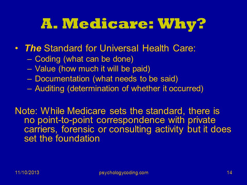 A. Medicare: Why The Standard for Universal Health Care: