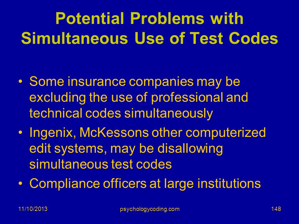 Potential Problems with Simultaneous Use of Test Codes