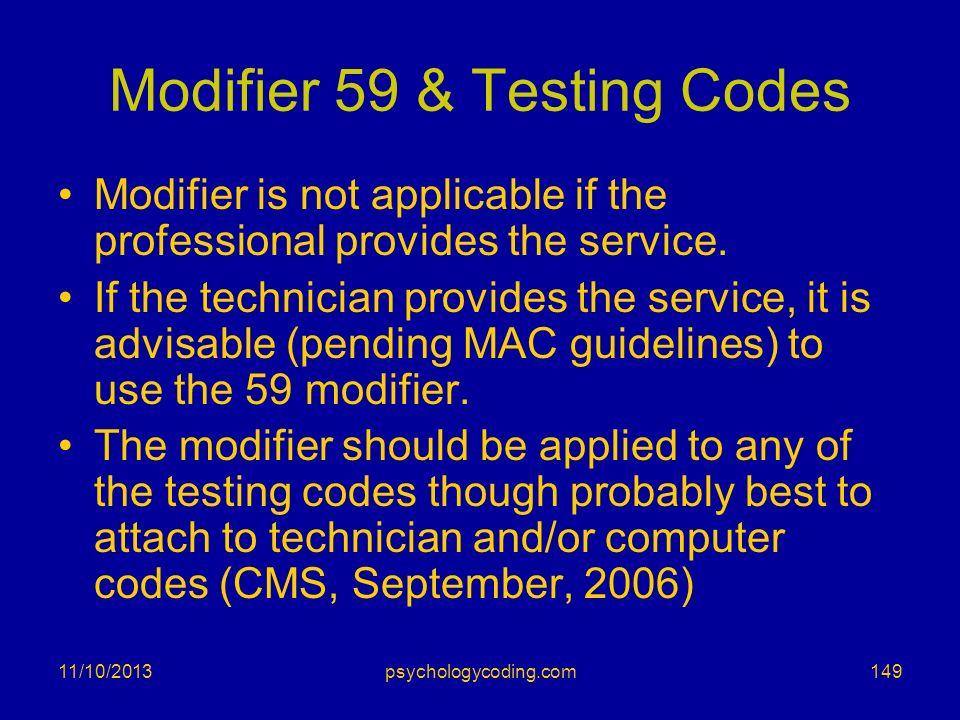 Modifier 59 & Testing Codes
