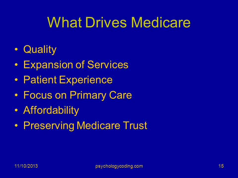 What Drives Medicare Quality Expansion of Services Patient Experience