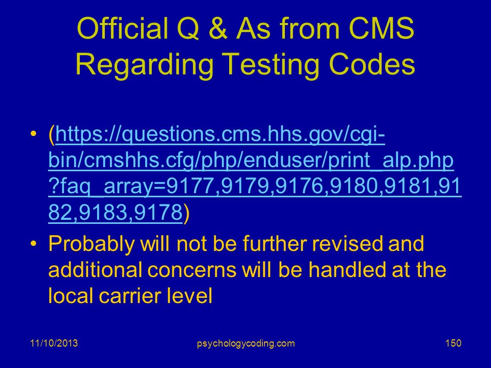Official Q & As from CMS Regarding Testing Codes