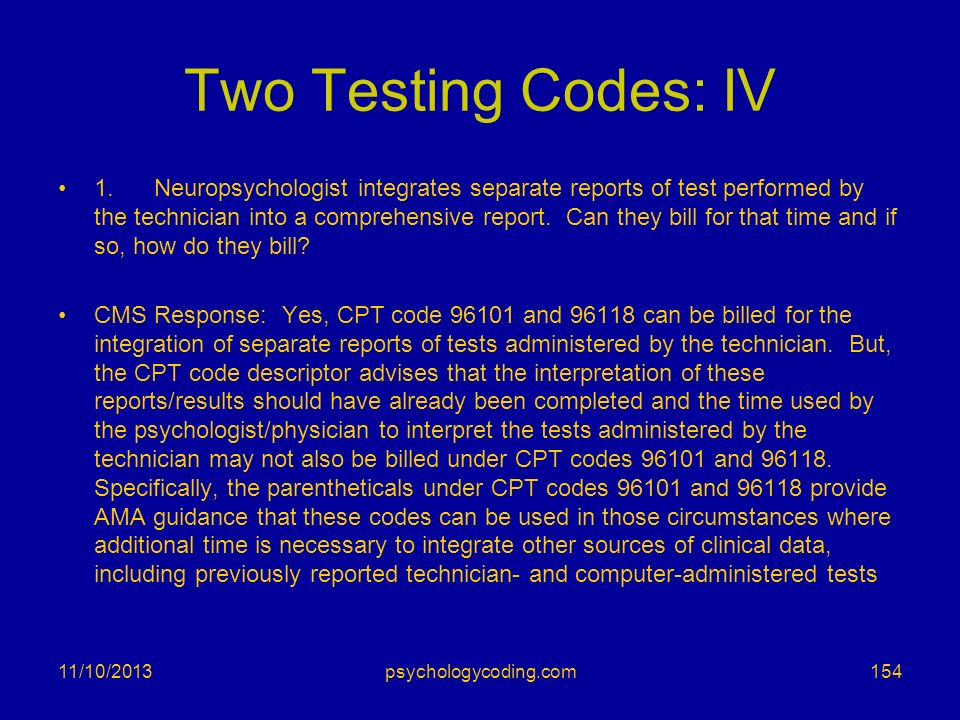 Two Testing Codes: IV