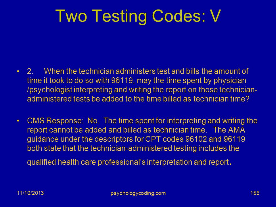 Two Testing Codes: V