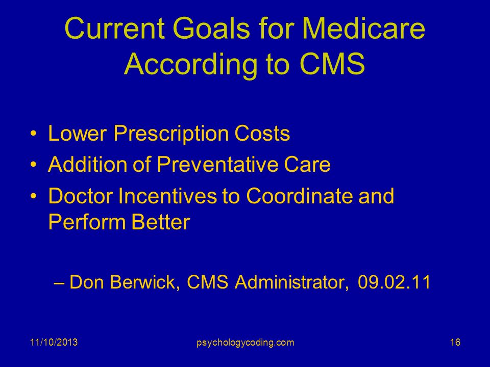 Current Goals for Medicare According to CMS