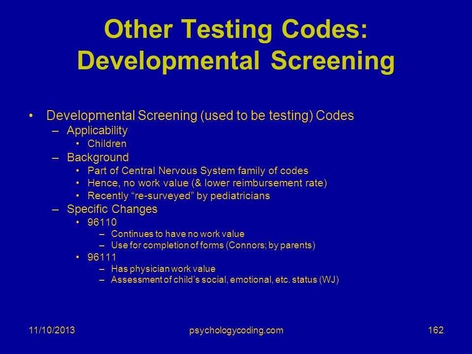 Other Testing Codes: Developmental Screening
