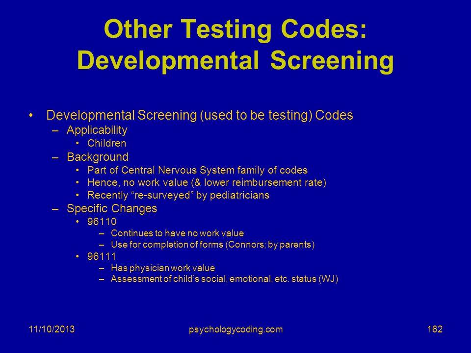 Other Testing Codes: Developmental Screening