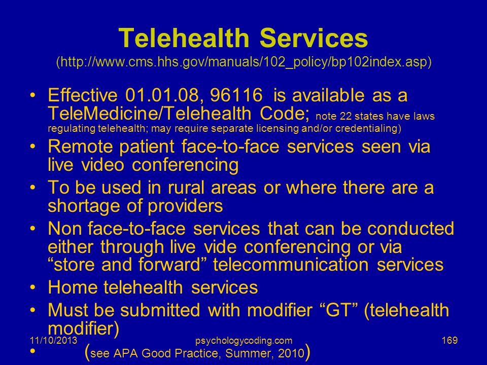 Telehealth Services (http://www. cms. hhs