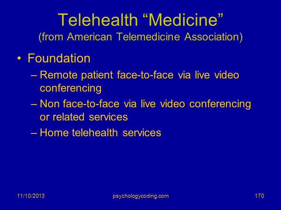 Telehealth Medicine (from American Telemedicine Association)