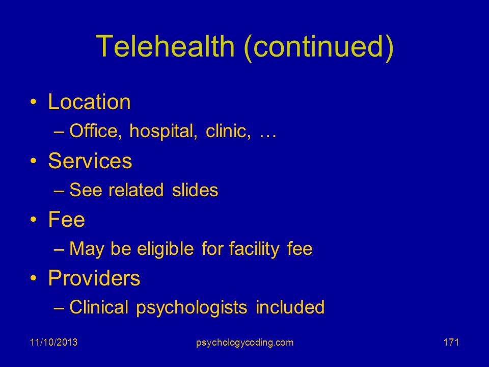 Telehealth (continued)
