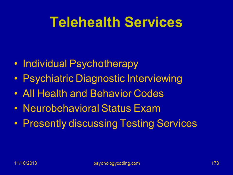 Telehealth Services Individual Psychotherapy