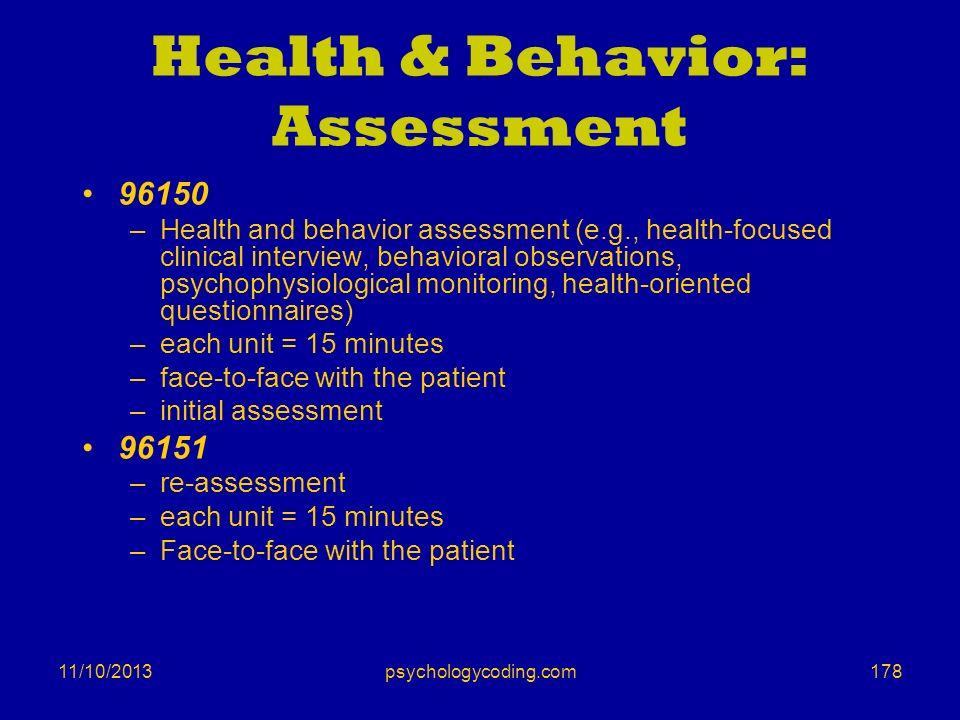 Health & Behavior: Assessment