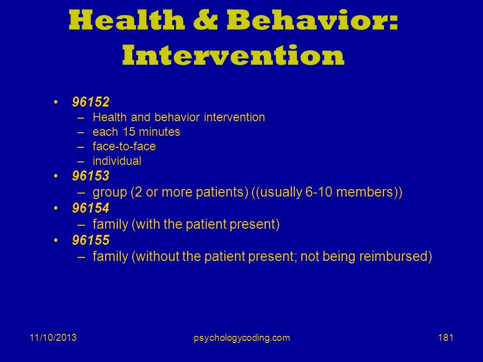Health & Behavior: Intervention