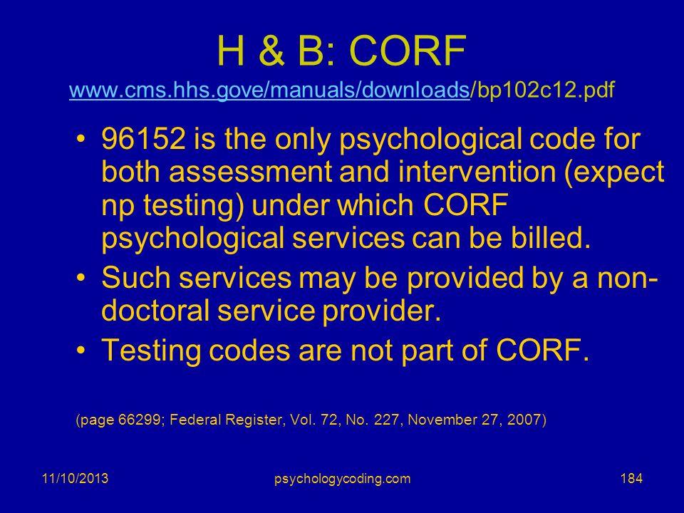 H & B: CORF www.cms.hhs.gove/manuals/downloads/bp102c12.pdf